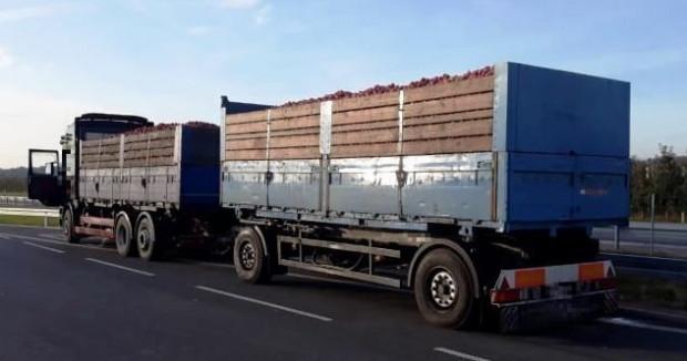 GITD: Przeładowana ciężarówka z jabłkami na trasie koło Grójca