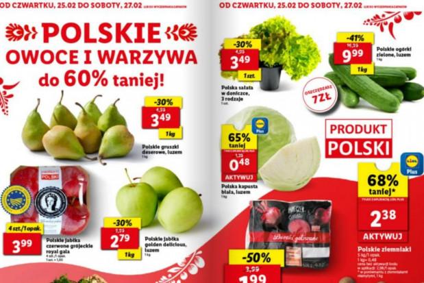 Lidl: polskie owoce i warzywa do 60% taniej. Jabłka - 1,79 zł/kg